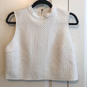Forever 21 cropped top. White quilted. Size L